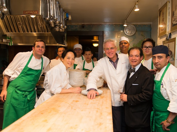 Chef David Bouley with his team at the James Beard House Kitchen